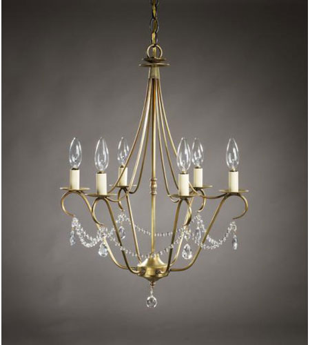 Northeast Lantern 929-AB-LT6-CRY Signature 6 Light 19 inch Antique Brass Chandelier Ceiling Light in With Crystals photo